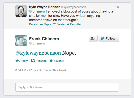 Frank Chimero hates writing blog posts for me.